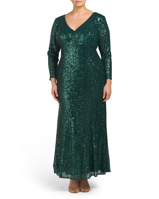 Plus Long Sleeve V-neck Sequin Gown