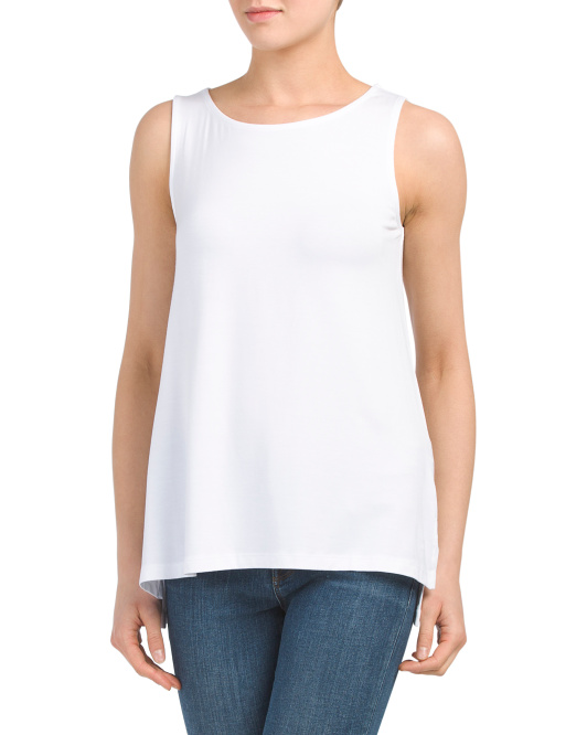 Sleeveless Hi-lo Split Hem Tee