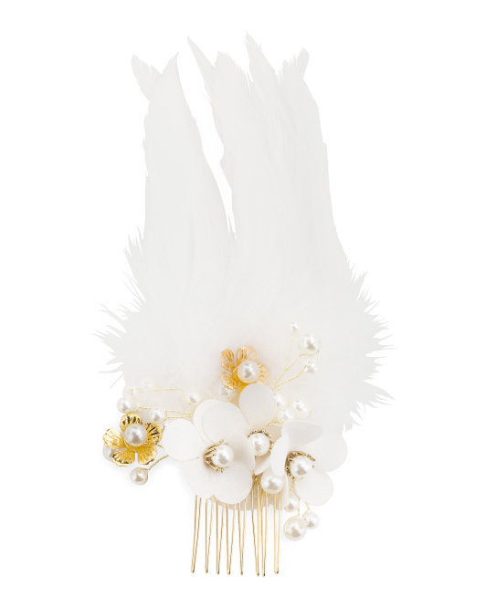Pearl And Fabric Flower Gold Tone Hair Comb