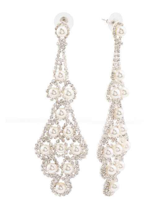 Silver Tone Crystal And Pearl Chandelier Earrings