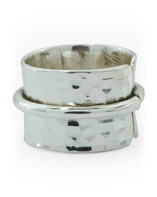Recycled Sterling Silver Hammered Band Ring