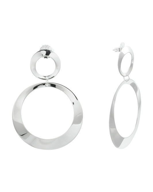 Recycled Sterling Silver Open Double Circle Earrings