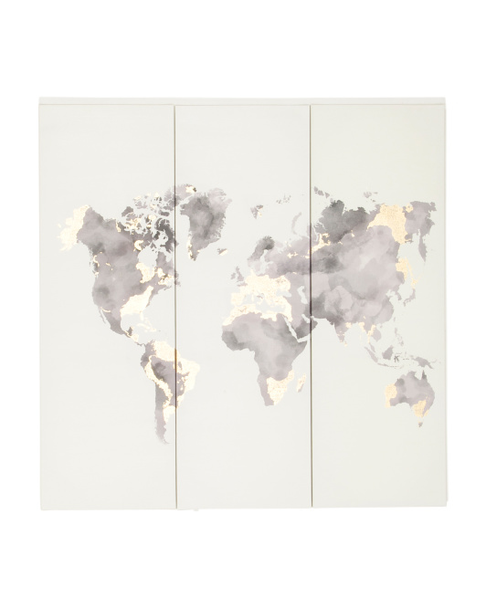 3pc Watercolor World Map Wall Art