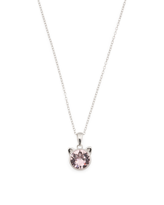 Sterling Silver Swarovski Crystal Cat Ears Pendant Necklace