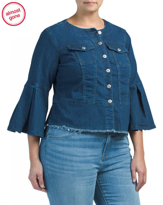 Plus Bell Sleeve Jean Jacket