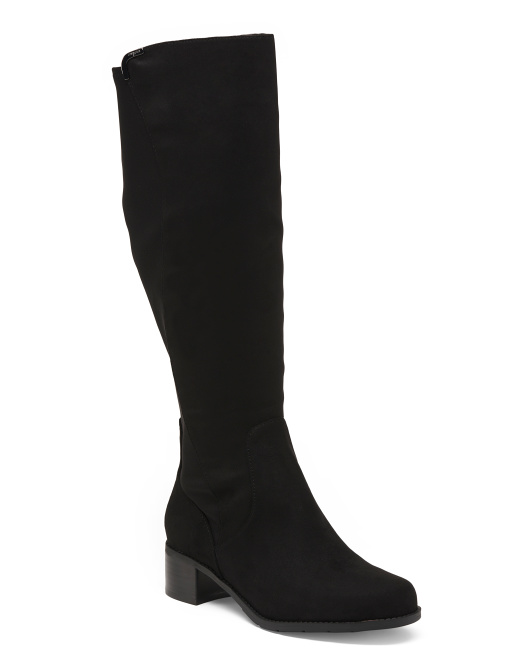 Wide High Shaft Suede Boots