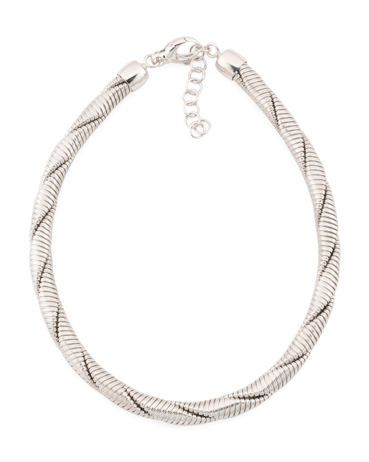 Made In Italy Rhodium Plated Bronze Tubogas Necklace