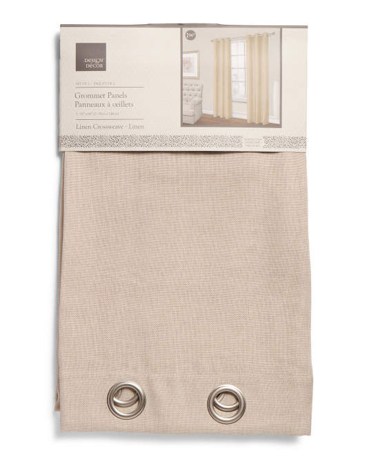 Set Of 2 Textured Faux Linen Curtains