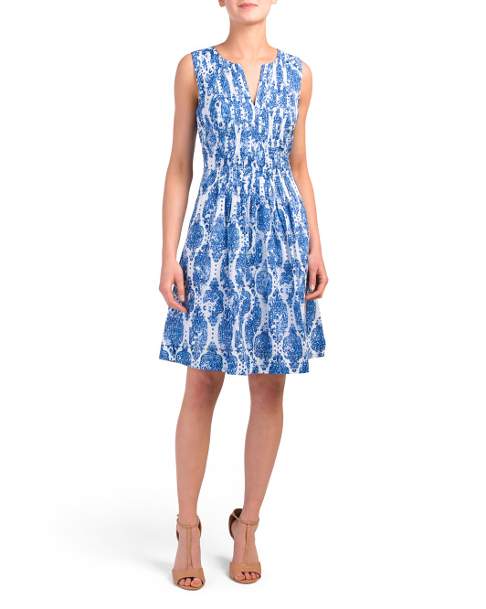 Lana Blurred Ikat Pintuck Dress