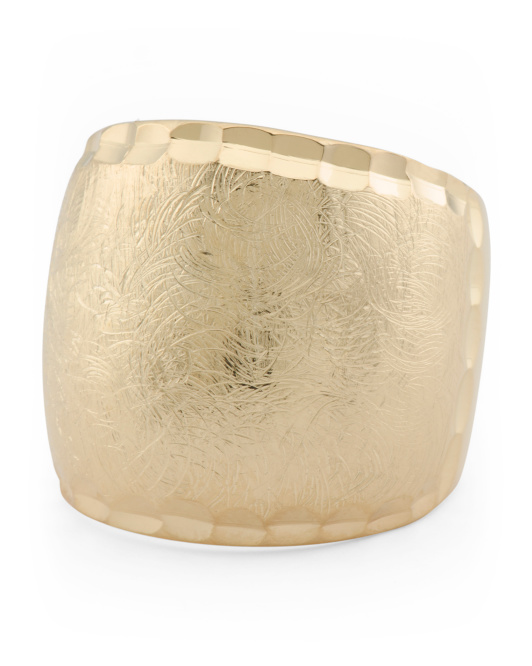 Made In Italy Gold Plated Sterling Silver Brushed Finish Ring