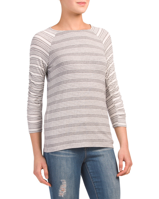 Mix Stripe Ribbed Knit Top