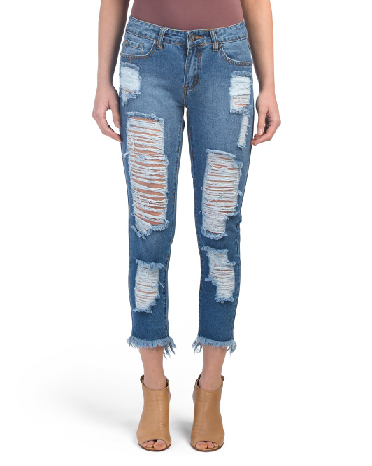 Juniors Destructed Cropped Jeans