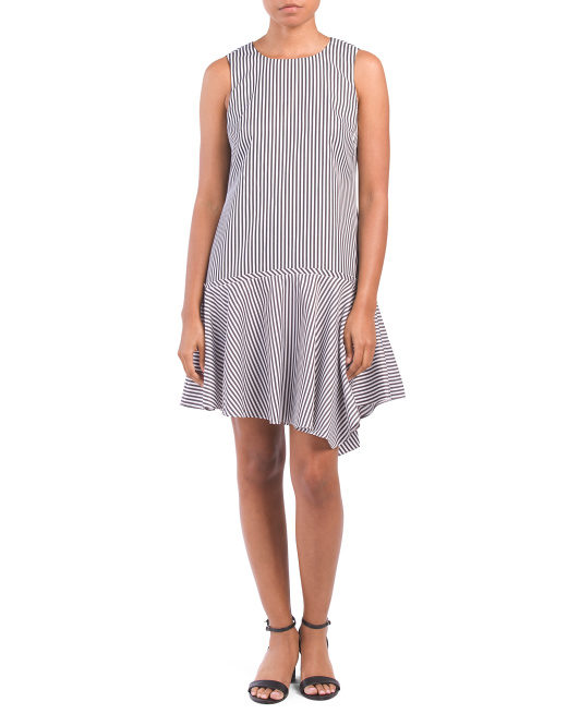 Striped Asymmetrical Poplin Dress