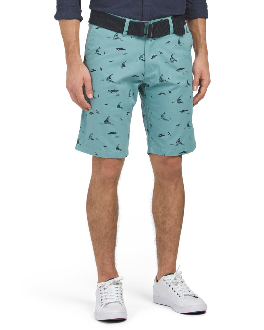 Belted Sails & Seagulls Printed Shorts