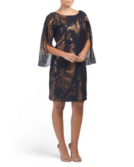 Metallic Overlay Cocktail Dress