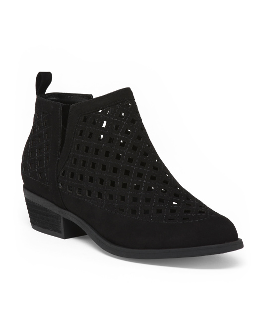 Perforated Side Slit Ankle Booties