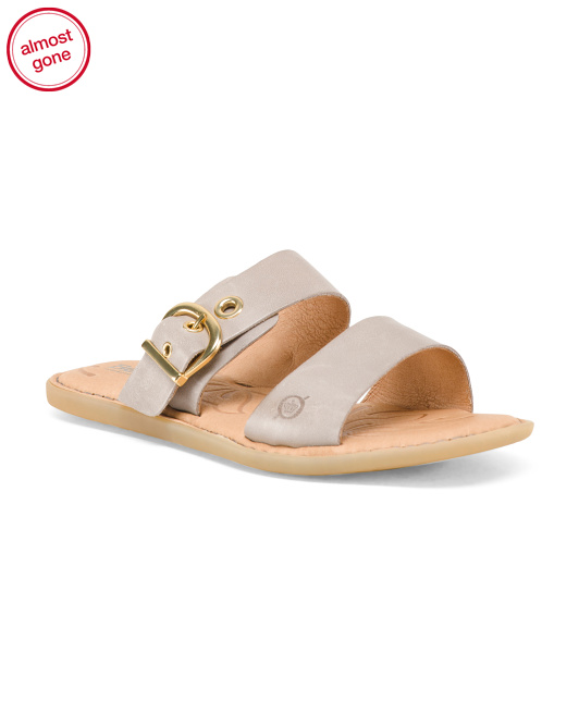 Flat Slide On Leather Sandals
