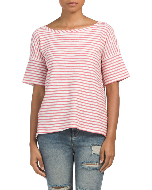 Textured Striped Boxy Top
