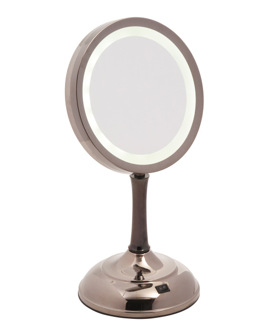 1x And 7x Dual Height Lighted Vanity Mirror