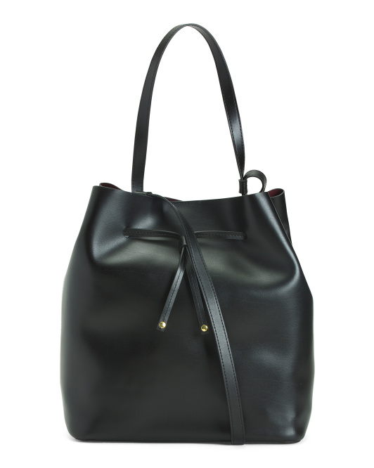 Halina Large Leather Drawstring Crossbody