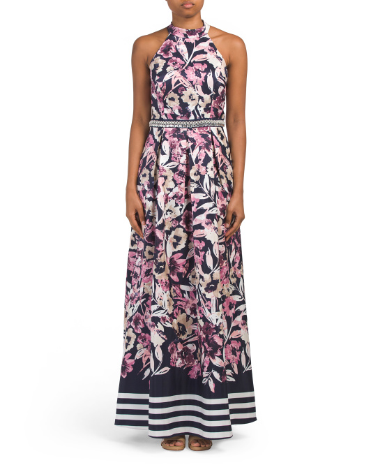 Sleeveless Floral Mikado Gown