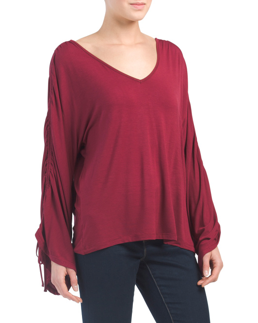 Gathered Long Sleeve V-neck Top