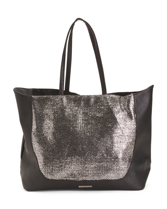 Straw Front Tote