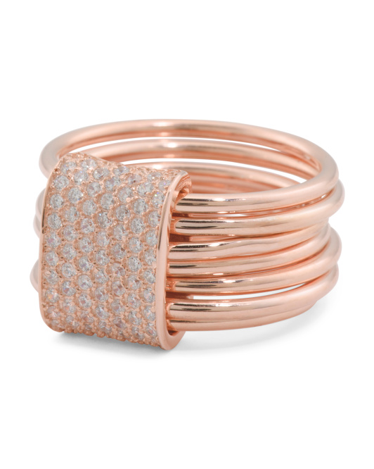 Rose Gold Plated Sterling Silver CZ Stacking Rings