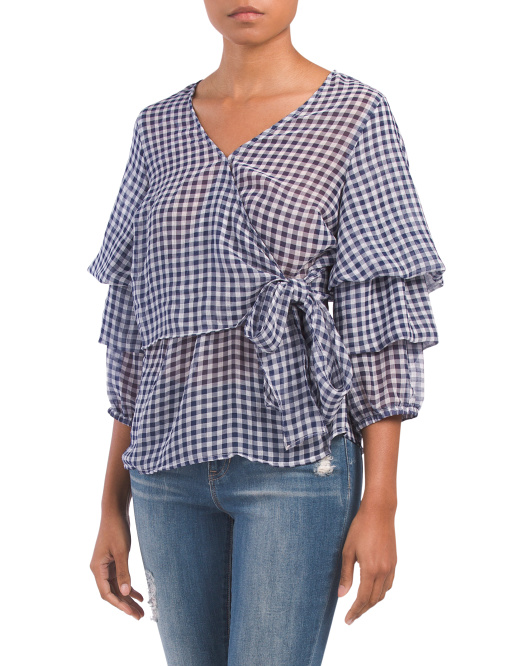 Gingham Balloon Sleeve Top
