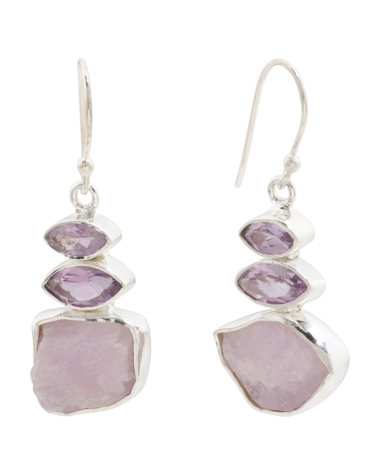 Handcrafted In India Sterling Silver Kunzite Earrings