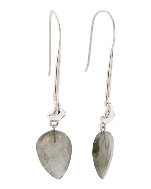 Handcrafted In India Sterling Silver Labradorite Earrings