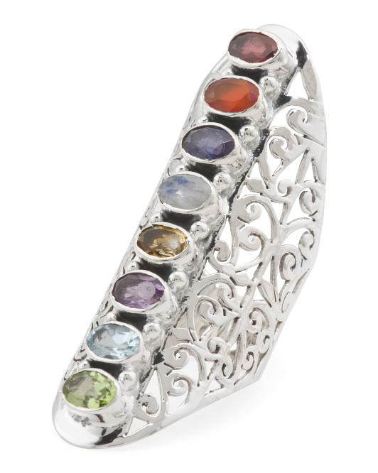 Handcrafted In India Sterling Silver Multi Gemstone Ring