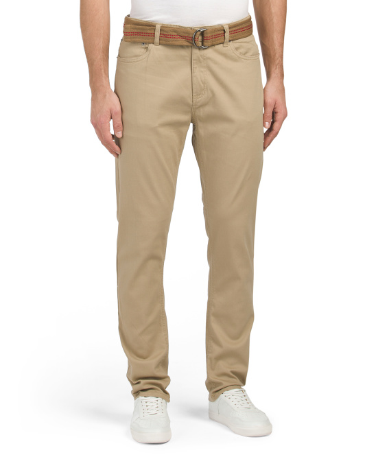 Jackson Belted Stretch Twill Slim Straight Pants
