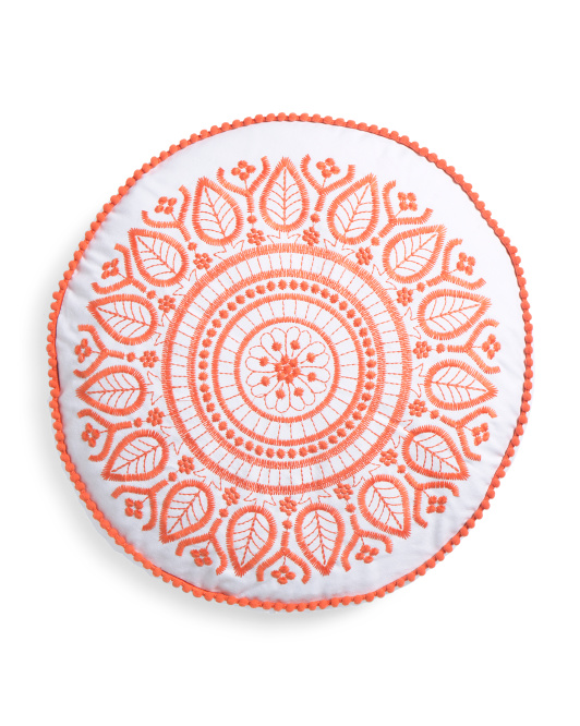 18x18 Round Embroidered Pillow