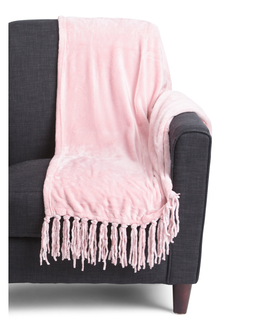 Solid Chenille Fringe Throw