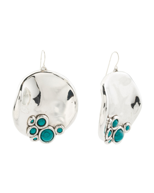 Made In Israel Sterling Silver Turquoise Disc Earrings