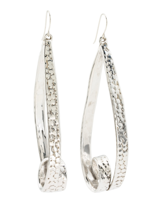 Made In Israel Sterling Silver Rollercoaster Earrings