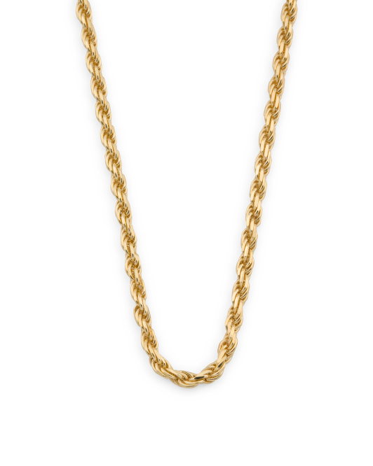 Men's Made In Italy 18k Plated 925 Rope Chain Necklace