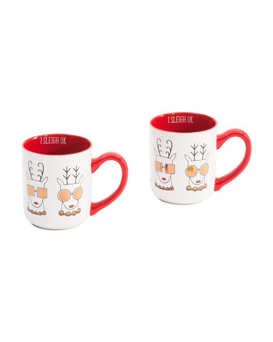 2pk Cool Reindeer Mugs