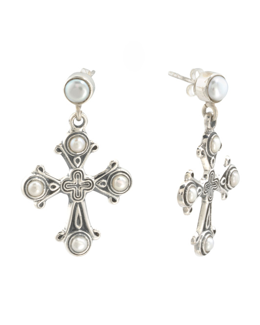 Handmade In India Sterling Silver And Pearl Rosary Earrings