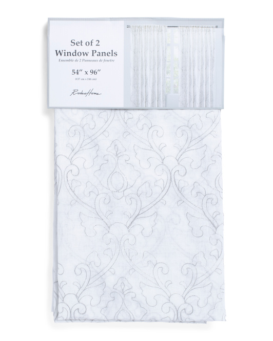 54x96 Set Of 2 Embroidered Curtains