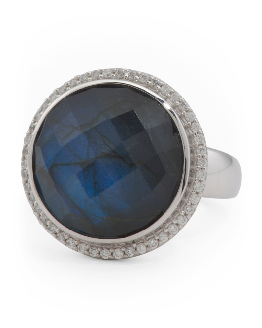 Made In India Sterling Silver Labradorite And Cz Ring