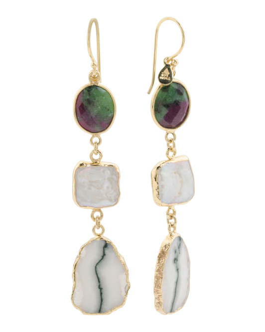 Made In India Sterling Silver Pearl And Solar Quartz Earrings