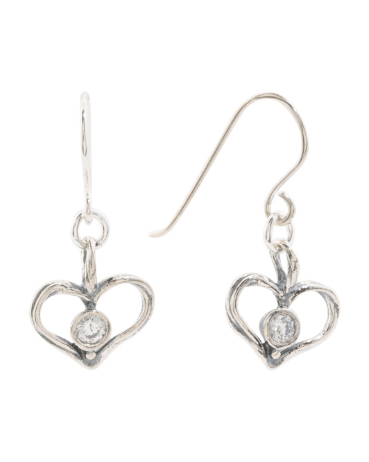 Made In Israel Sterling Silver And CZ Drop Heart Earrings
