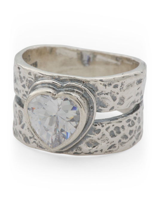 Made In Israel Sterling Silver And CZ Heart Ring