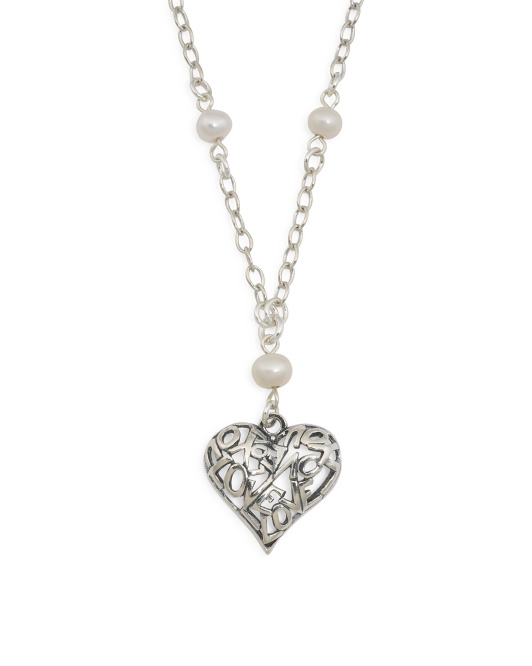 Made In Israel Sterling Silver Pearl Heart Station Necklace