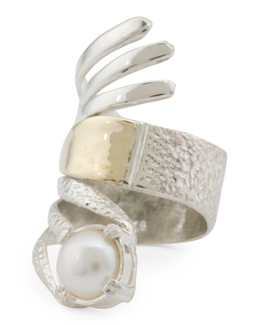 Made In Israel Sterling Silver 14k Gold And Pearl Wrap Ring