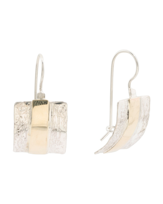Made In Israel Sterling Silver And 14k Textured Earrings