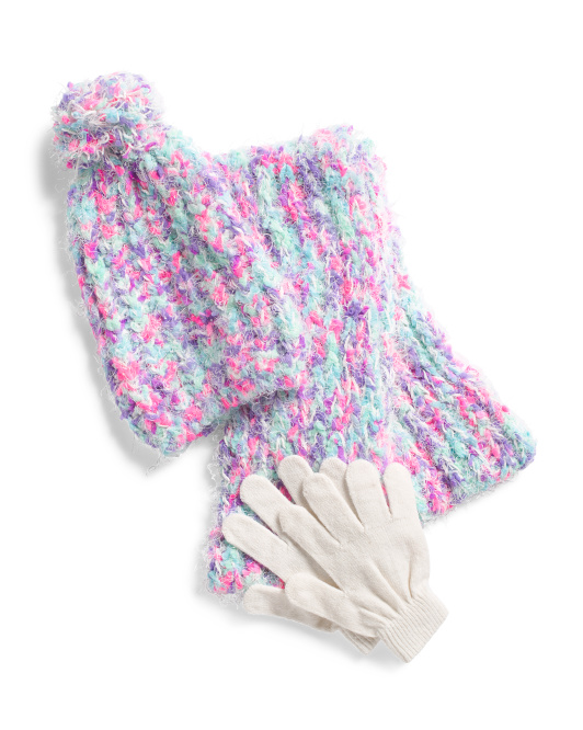 Girls Cozy Hat Scarf & Glove Set