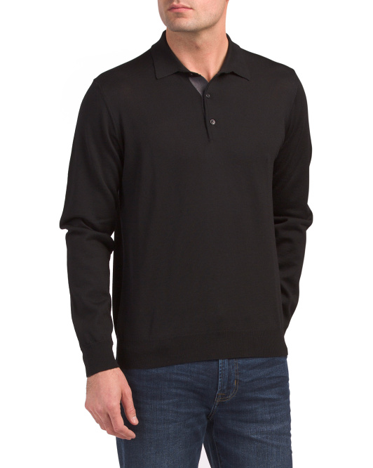 Made In Italy Merino Wool  Button Polo